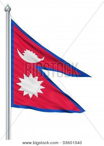 Waving flag of Nepal