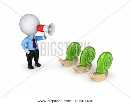 3d small person with megaphone and three snails.
