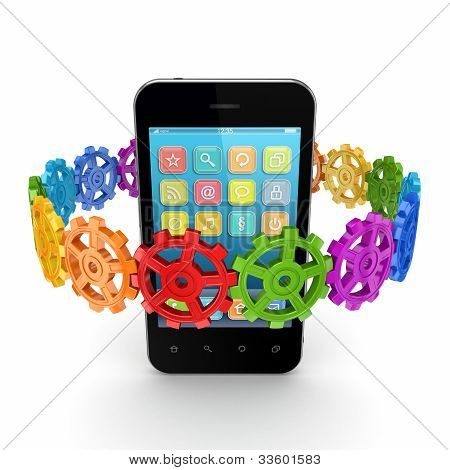 Colorful gears around mobile phone.