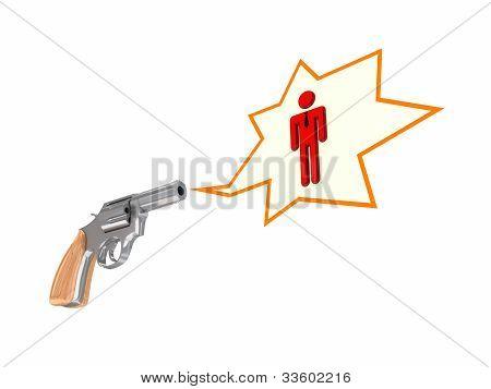 Pessoa pequena revólver e vermelho.