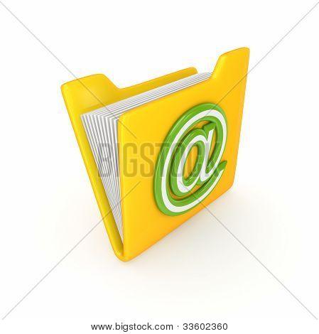 Gele map met een groen op symbool.