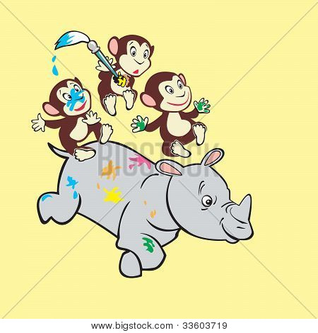 Tree Monkeys And Rhino.eps
