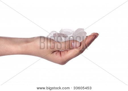 Woman Hand Holding Ice Cubes