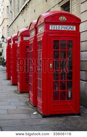 Traditional Old Style Uk Red Phone Boxes In Covent Garden, London.
