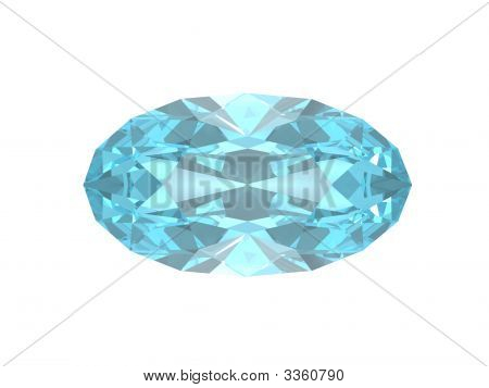 Blue Topaz Oval Isolated On White Background