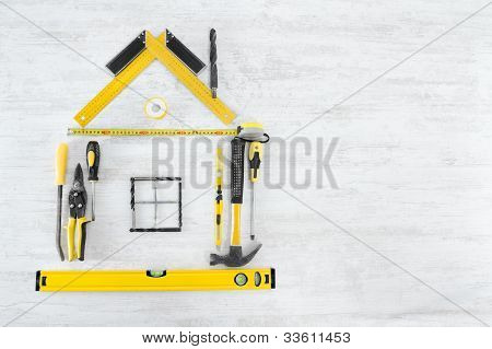Tools shape of house. Home improving, repair concept