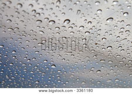 Background: Rain Drops On A Polyethylene Awning