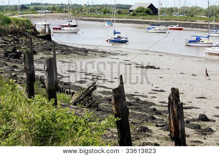 boats moored on a river