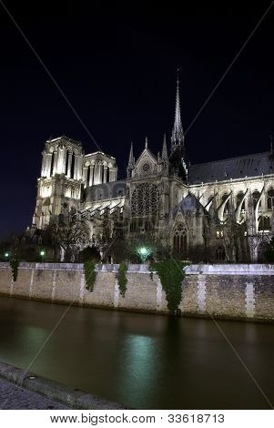 Notre-dame Cathedral And Seine River By Night