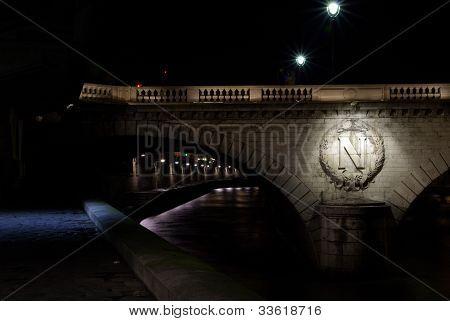 Typical Paris Bridge With Napoleon Sign