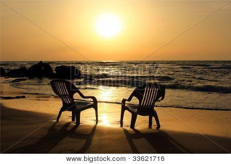 Sad Sunset On The Beach