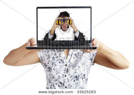 Shocked Businessman From Laptop