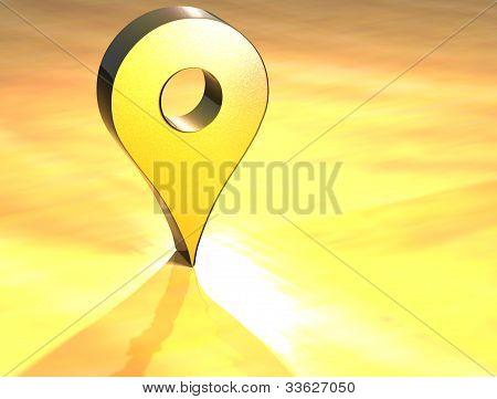 3D Map Pin Gold Sign