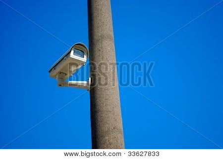 Surveillance Camera On A Pole