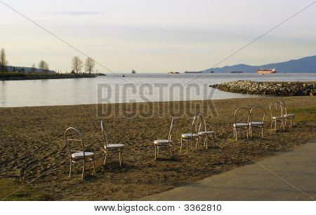 Chair Sculptures On Sunset Beach In Vancouver