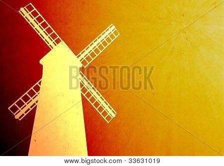 Grunge Style Of Windmill