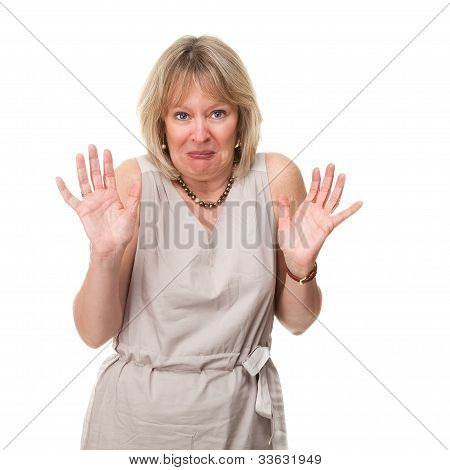 Woman with Shocked Horrified Expression Holding up Hands