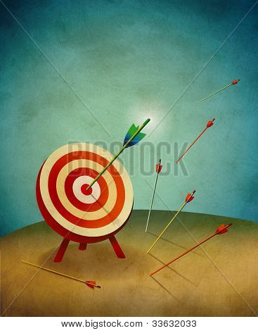 Target With One Bullseye And Others Missing The Mark