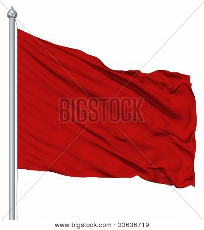 Red blank flag with flagpole