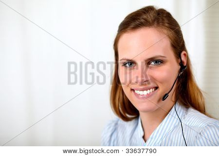Professional Receptionist Smiling