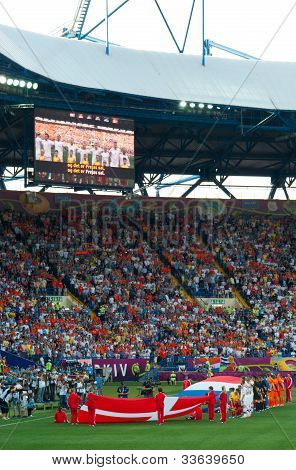 Kharkiv, Ukraine - June 9: Denmark National Football Team Sings Hymn Before Match