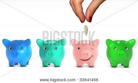 Woman's hand choosing a piggy bank and giving it a piece of money.