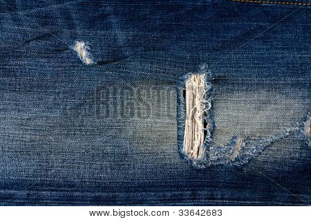Detail Of Torn Blue Denim, Front View  Jean