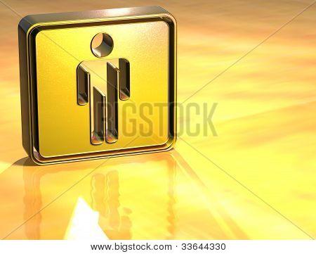 3D Men Toilet Gold Sign