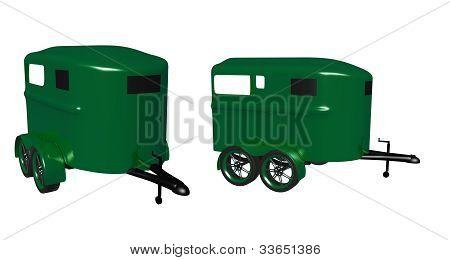 glossy green horse trailer
