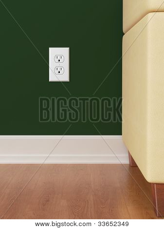 power outlet green wall