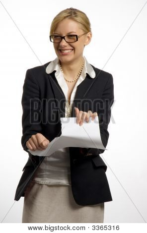 Blond Haired Business Woman Tear Paper