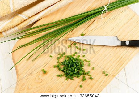 Close Up Overhead View Of Chives