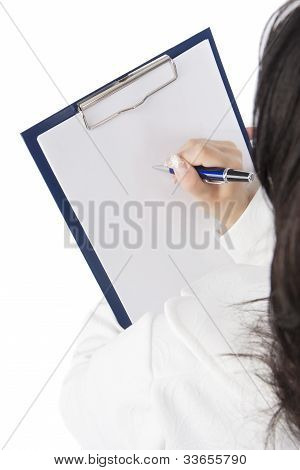 Back And Above View Of A Woman With Map Case Writing