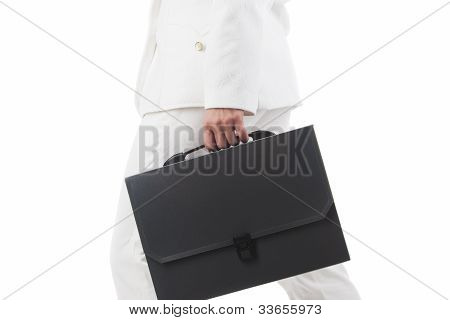 Fragment Shot Of A Businesswoman Holding Briefcase And Rushing