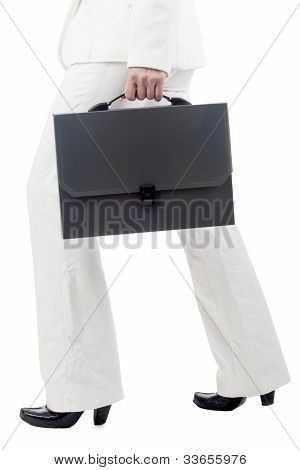 Fragment Shot Of A Businesswoman Holding Briefcase And Walking