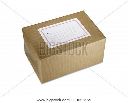 Brown Paper Parcel With Blank Label Clipping Path