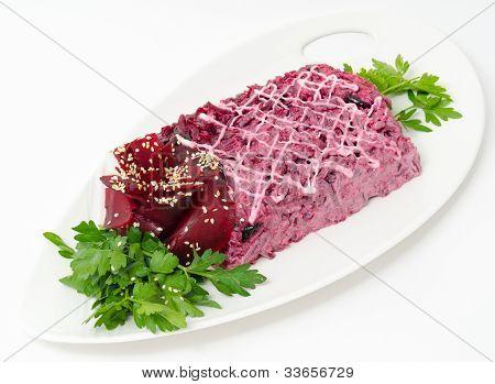Herring Under Beetroot Salad