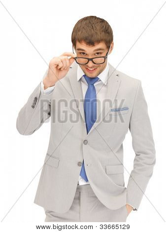 portrait picture of happy businessman in spectacles