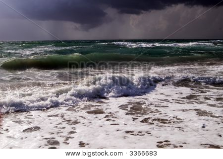 Sea Surf In A Thunder-Storm