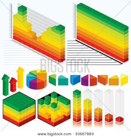 Collection of Isometric Graphs, Charts for your Presentation Design