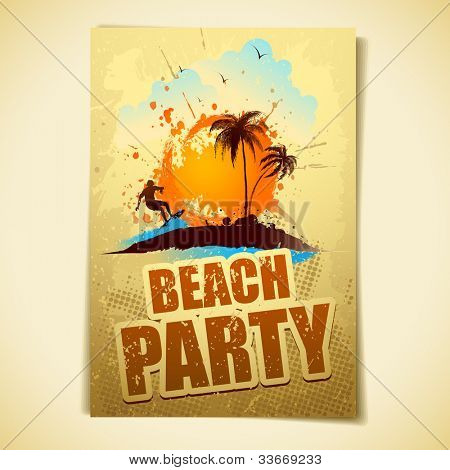 illustration of poster with surfer in sea for beach party