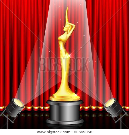 illustration of lady statue trophy on stage curtain backdrop