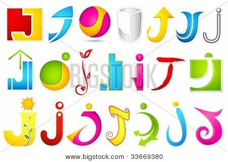 illustration of set of different colorful icon for alphabet J