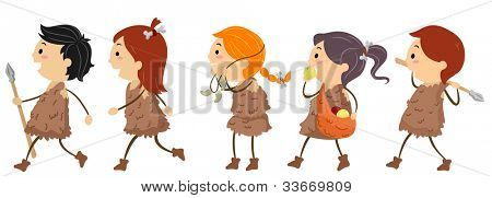 Illustration of Kids Dressed Like People From the Stone Age