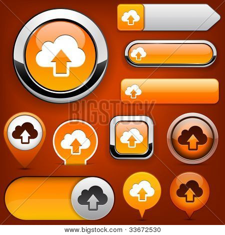 Sync orange design elements for website or app. Vector eps10.