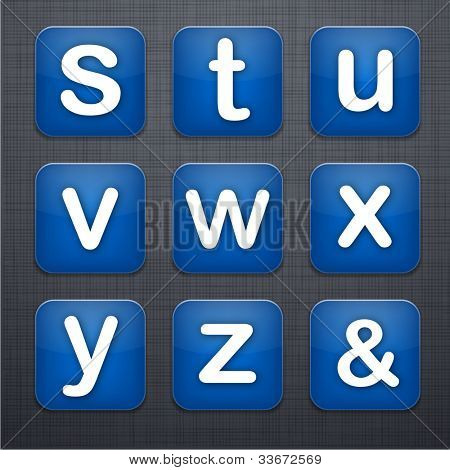 Vector illustration of letter apps icon set over linen texture.