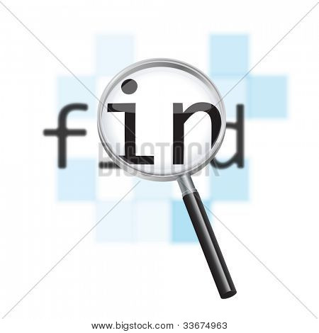 Internet search conceptual image. Magnifying glass focusing on the word 'find' against a defocused pixelated digital abstract background.