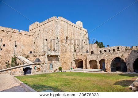 Knight templar castle in ancient Acre, Akko, Western Galilee, Israel