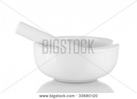 White mortar and pestle isolated on white background