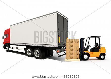 concepto de transporte de carga global 3D